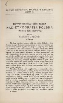 Dotychczasowy stan badań nad etnografią polską i dalsze ich kierunki