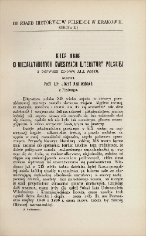 Kilka uwag o niezałatwionych kwestyach literatury polskiej z pierwszej połowy XIX wieku