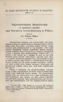 Najważniejsze dezyderaty w sprawie badań nad literaturą humanistyczną w Polsce