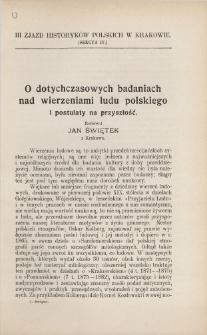 O dotychczasowych badaniach nad wierzeniami ludu polskiego i postulaty na przyszłość