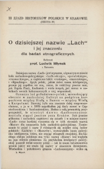 """O dzisiejszej nazwie """"Lach"""" i jej znaczeniu dla badań etnograficznych"""