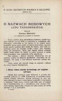 O nazwach rodowych ludu tarnowskiego