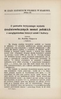 O potrzebie krytycznego wydania średniowiecznych monet polskich z uwzględnieniem historyi sztuki i kultury