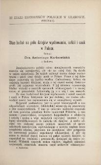 Stan badań na polu dziejów wychowania, szkół i nauk w Polsce
