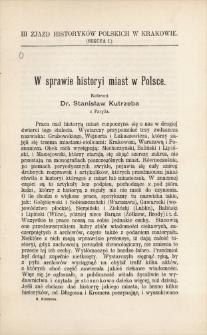 W sprawie historyi miast w Polsce