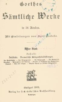 Goethes sämtliche Werke in 36 Bänden. Bd. 8