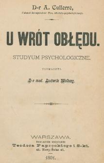 U wrót obłędu : studyum psychologiczne