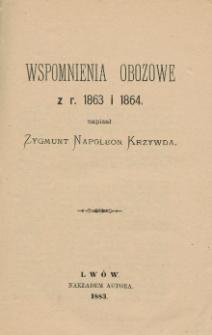 Wspomnienia obozowe z r. 1863 i 1864