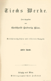 Tiecks Werke Bd. 1