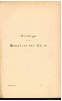 Mitteilungen aus den Memoiren des Satan ; Phantasien im Bremer Ratskeller ; Skizzen