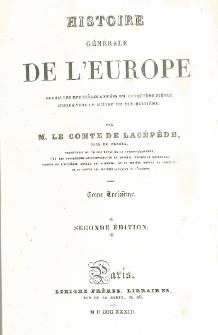 Histoire générale de l'Europe depuis les dernières années du cinquième siècle jusque vers le milieu du dix-huitième T. 13