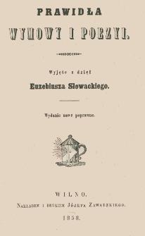 Prawidła wymowy i poezyi wyjęte z dzieł Euzebiusza Słowackiego