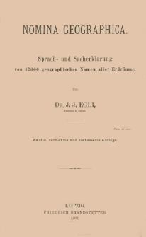 Nomina geographica : Sprach- und Sacherklärung von 42000 geographischen Namen aller Erdräume