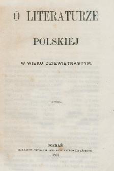 O literaturze polskiej w wieku dziewiętnastym