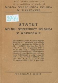Statut Wolnej Wszechnicy Polskiej w Warszawie : zatwierdzony przez Ministra Wyznań Religijnych i Oświecenia Publicznego w dniu 11 października 1935 r.