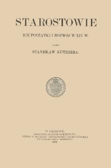 Starostowie : ich początki i rozwój w XIV w.