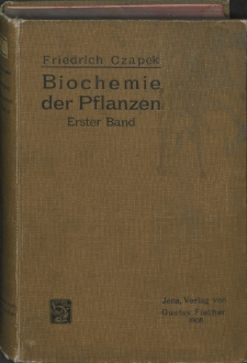 Biochemie der Pflanzen. Bd. 1