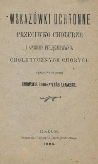 Wskazówki ochronne przeciwko cholerze i sposoby pielęgnowania cholerycznych chorych
