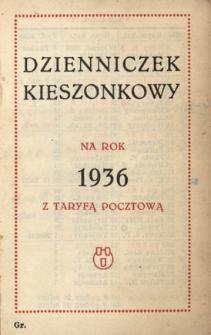 Papiery osobiste Emila Zegadłowicza. Dzienniczek kieszonkowy na rok 1936 z taryfą pocztową