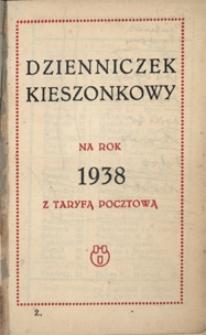 Papiery osobiste Emila Zegadłowicza. Dzienniczek kieszonkowy na rok 1938 z taryfą pocztową