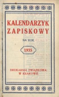 Papiery osobiste Emila Zegadłowicza. Kalendarzyk zapiskowy na rok 1935