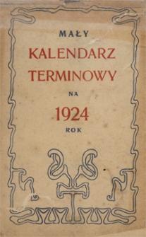 Papiery osobiste Emila Zegadłowicza. Mały kalendarz terminowy na 1924 rok