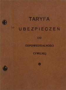 Taryfa ubezpieczeń od odpowiedzialności cywilnej: lipiec 1934