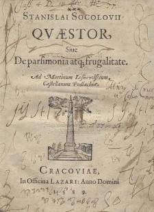 Quaestor sive de parsiminia atque frugalite