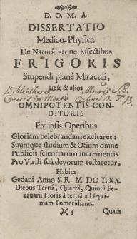 Israelis Conradi Med. Doct. Dissertatio Medico-Physica De Frigoris Natura Et Effectibus