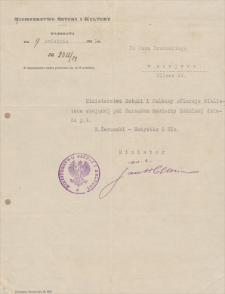 Papiery Emila Zegadłowicza dotyczące Ministerstwa Sztuki i Kultury – pisma, które wyszły z MSiK