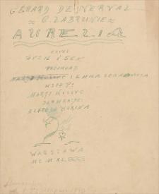 Aurelia, czyli życie i sens [przekład opowiadania Gèrarda de Nervala]