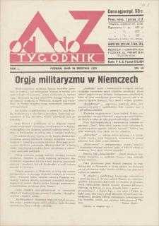 Od A do Z : tygodnik. R. 1, 1931, nr 18 (30 VIII)