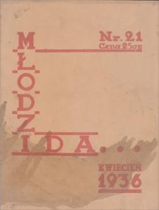 Młodzi idą … : miesięcznik młodzieży szkół średnich Zagł. Dąbrowskiego. Nr 21, kwiecień 1936