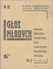 Głos Młodych : pismo młodzieży szkół średnich Białej-Bielska-Cieszyna-Kęt-Pszczyny-Wadowic-Żywca. R 2, 1936, nr 1 (październik)