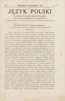 Język Polski : wydawnictwo Komisji Języka Polskiego Akademji Umiejętności w Krakowie. R. 4, 1919, z. 4 (wrzesień, październik)